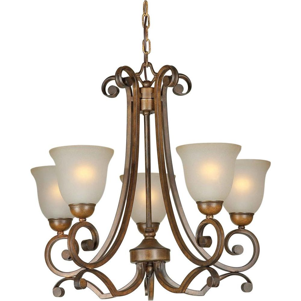 Illumine 5 Light Chandelier Rustic Sienna Finish Shaded Umber Glass-DISCONTINUED