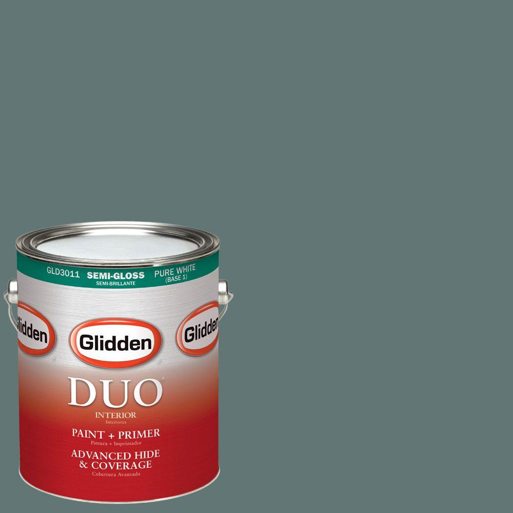 Glidden DUO 1-gal. #HDGCN21D Dark Teal Woods Semi-Gloss Latex Interior Paint with Primer