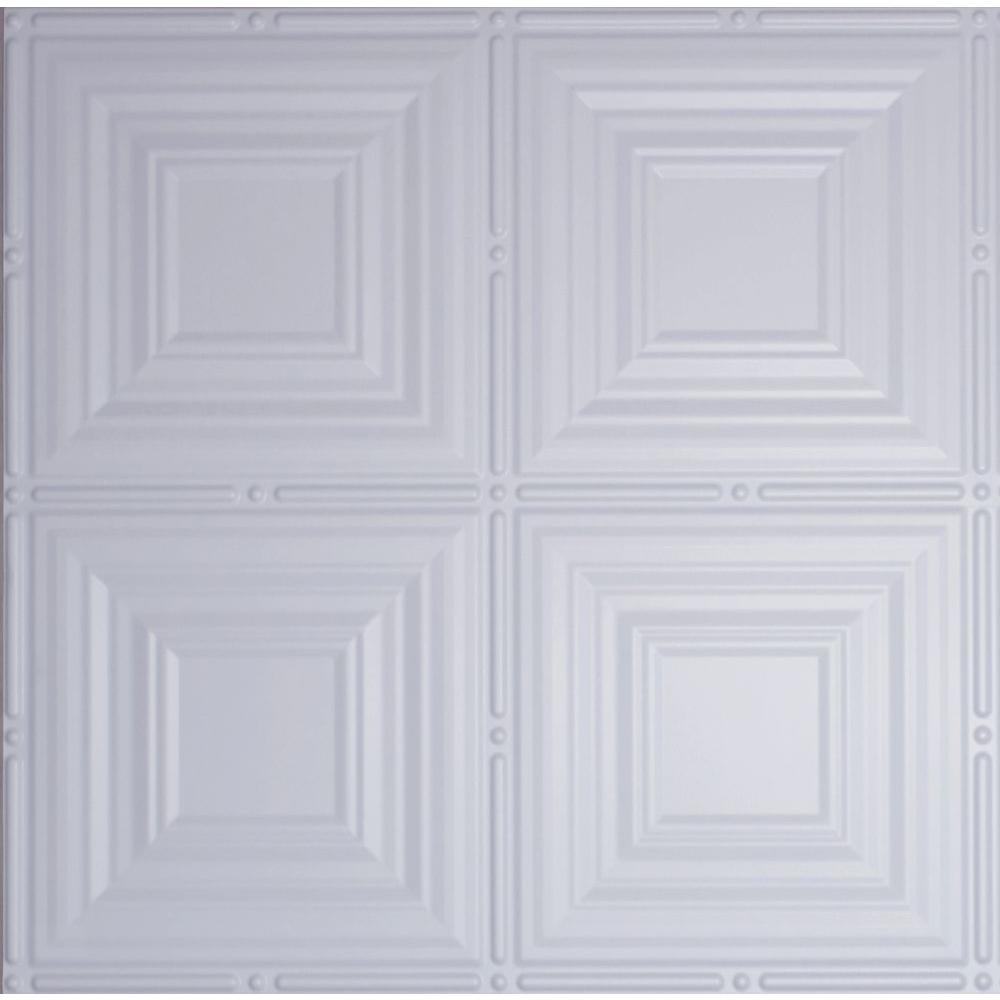 Dimensions 2 ft. x 2 ft. White Tin Ceiling Tile for Refacing in T-Grid Systems, Matte White
