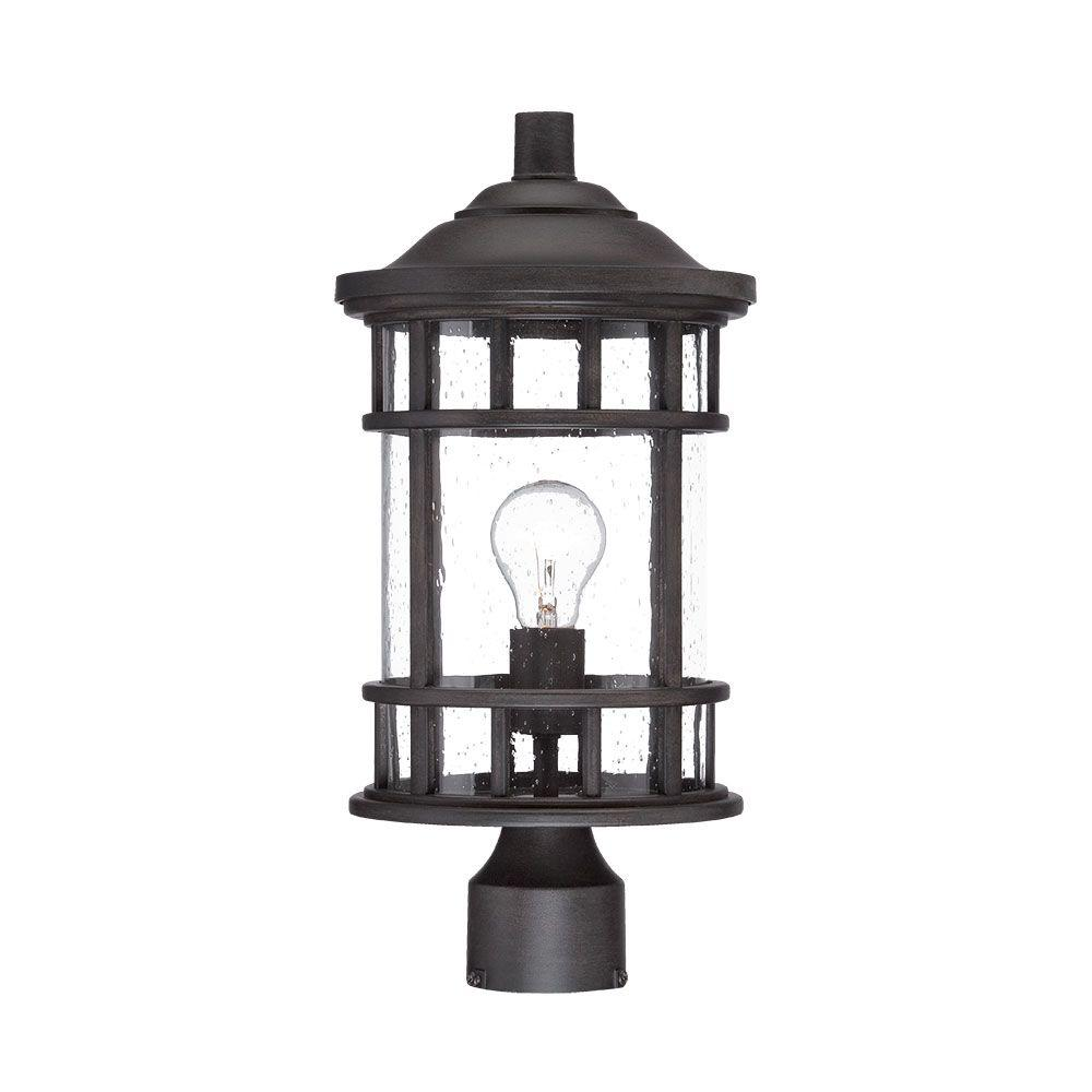 New Vista 1-Light Black Coral Outdoor Post Lantern