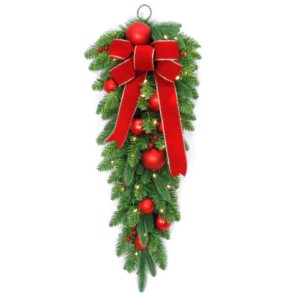 32 in. Battery Operated Mixed Fir Artificial Teardrop with 50 Clear