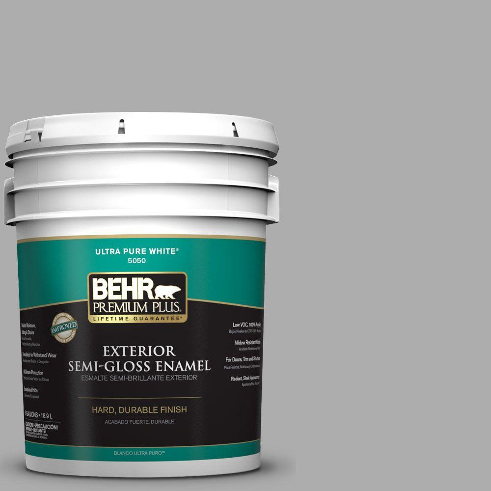 5-gal. #N520-3 Flannel Gray Semi-Gloss Enamel Exterior Paint