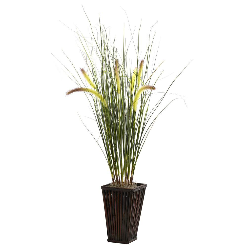 Nearly Natural Grass with Cattails and Bamboo Planter