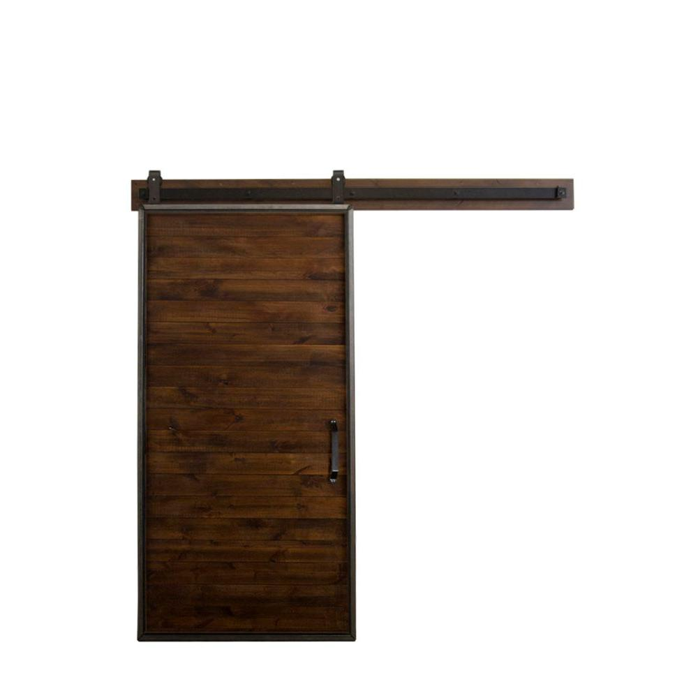 Rustica hardware 36 in x 84 in mountain modern stain glaze clear wood barn door with - Barn door track hardware home depot ...