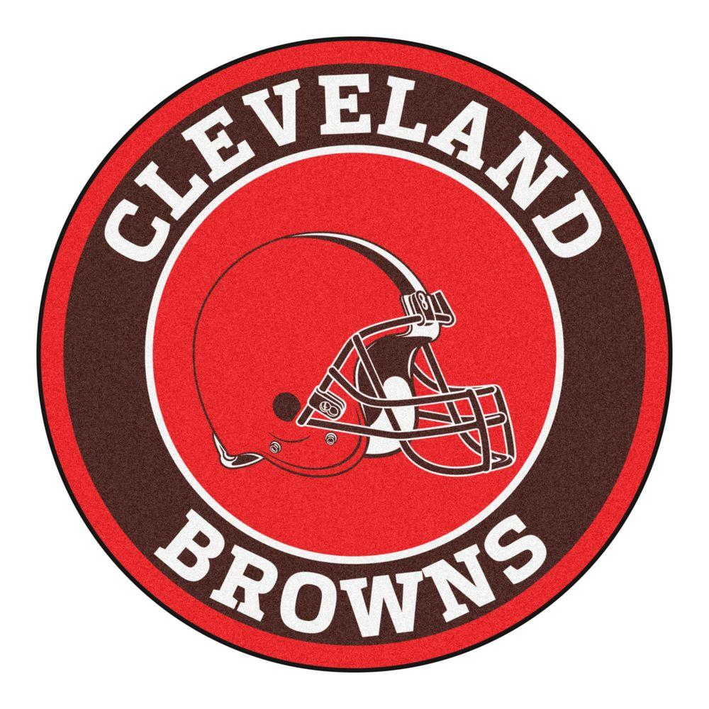 NFL Cleveland Browns Brown 2 ft. 3 in. x 2 ft. 3 in. Round Accent Rug