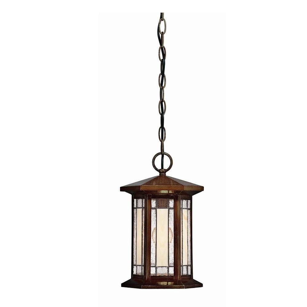 Hampton Bay Woodbridge Collection 1-Light Outdoor Heritage Bronze Faux Small Tiffany Pendant-DISCONTINUED