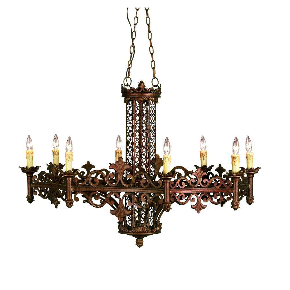 Eurofase Modesa Collection 8-Light Rustic Bronze Hanging Chandelier
