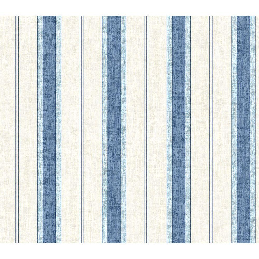 The Wallpaper Company 56 sq. ft. Blue and White Pinstripe Wallpaper