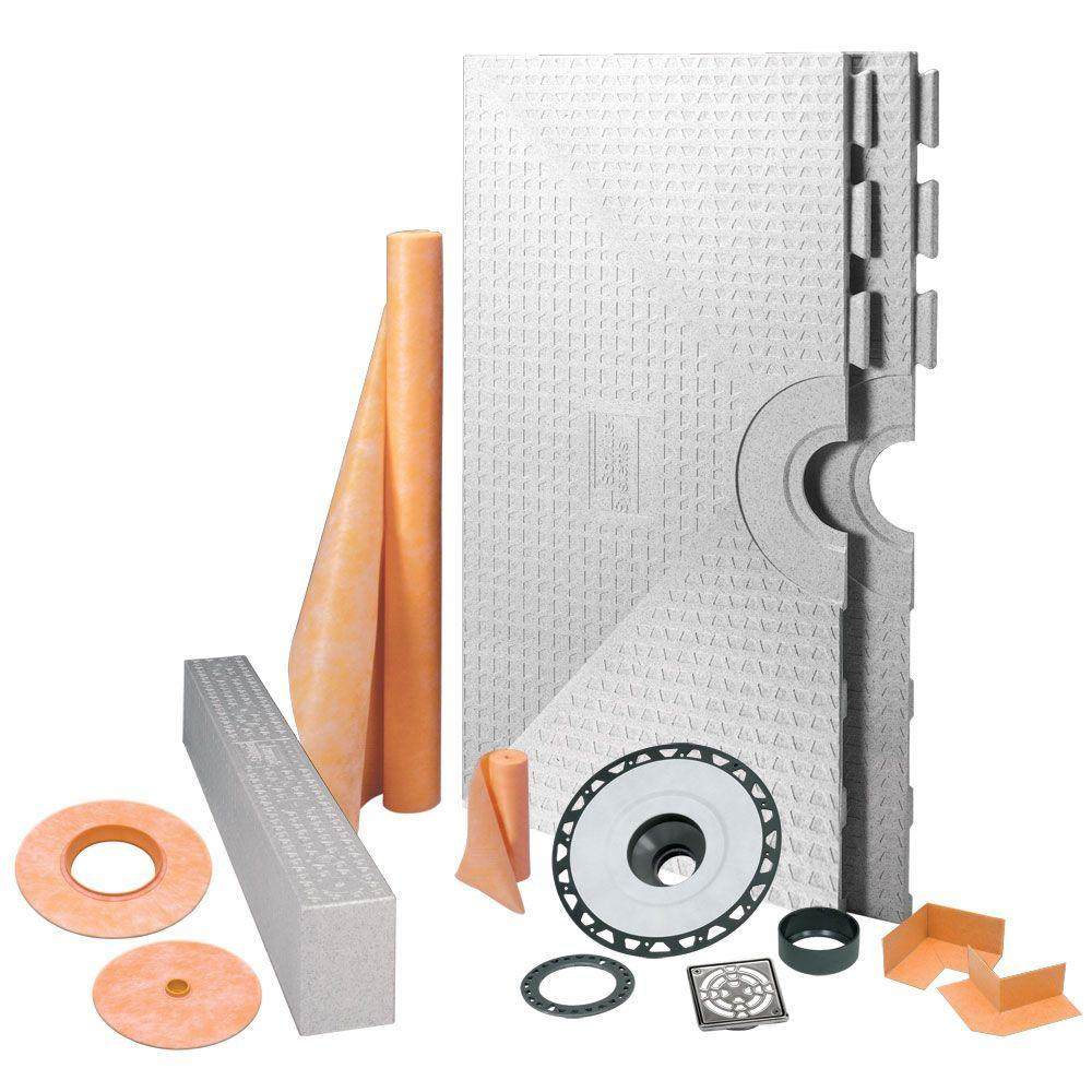 null Kerdi-Shower 48 in. x 48 in. Shower Kit in ABS with Stainless Steel Drain Grate