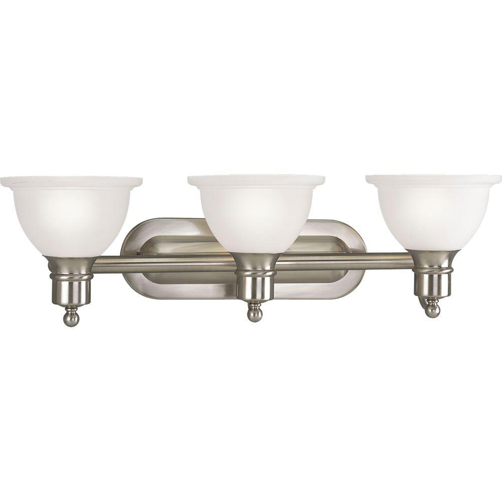 Brushed nickel bathroom lights - Progress Lighting Madison Collection 3 Light Polished Chrome Vanity Fixture P3163 15 The Home Depot