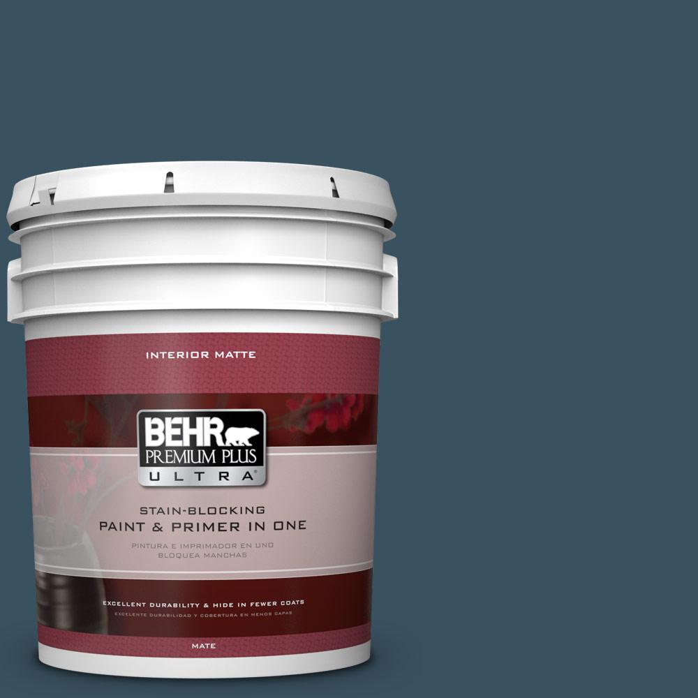 BEHR Premium Plus Ultra 5 gal. #PPU13-20 Restless Sea Flat/Matte Interior Paint