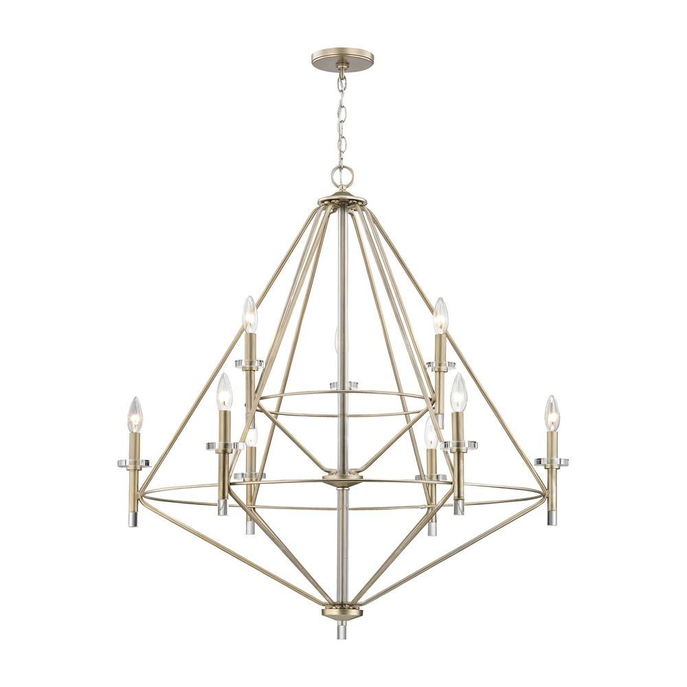 Lacombe 9-Light Aged Silver with Clear Glass Accents Chandelier