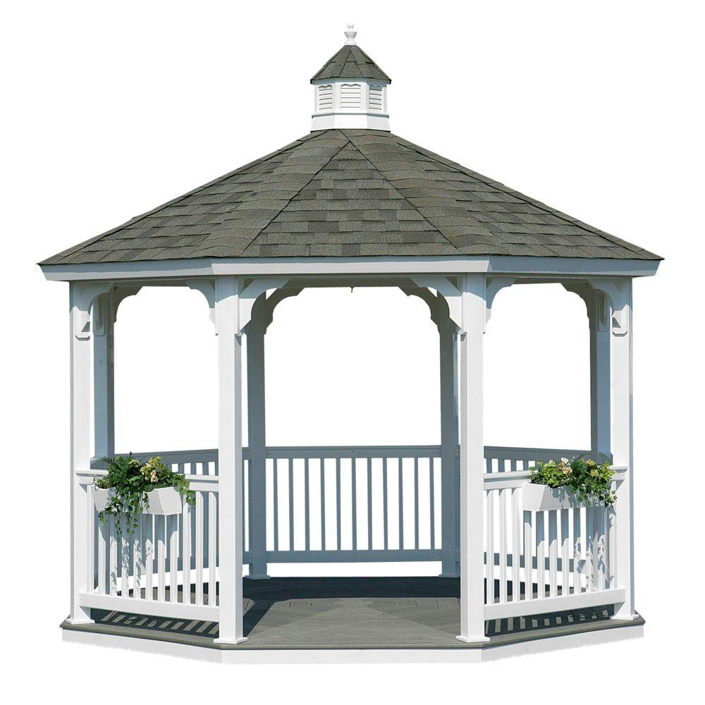 HomePlace Structures 12 ft. Vinyl Octagon Gazebo with Floor