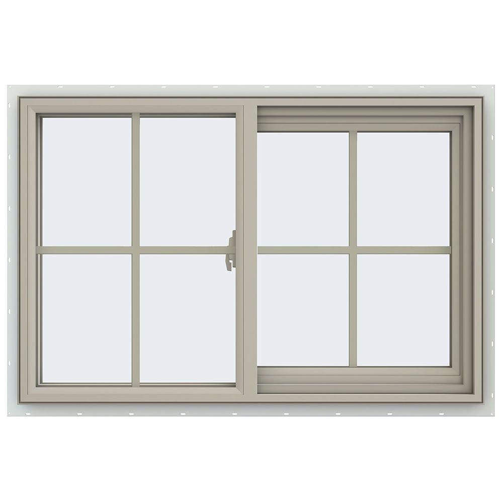 JELD-WEN 35.5 in. x 23.5 in. V-2500 Series Right-Hand Sliding Vinyl Window with Grids - Tan
