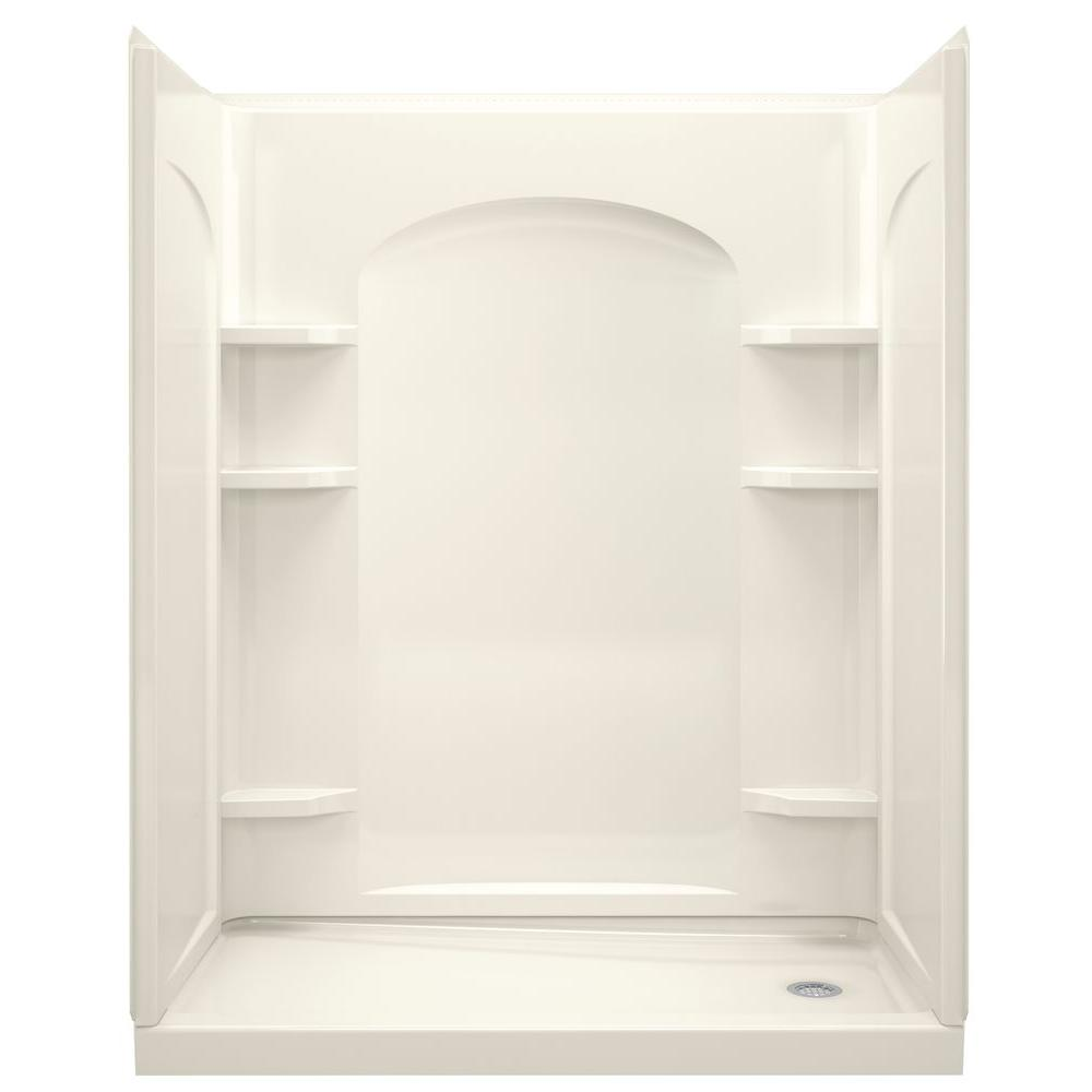 STERLING Ensemble 32 in. x 60 in. x 74-1/2 in. Shower Stall with Age-in-Place Backers in Biscuit