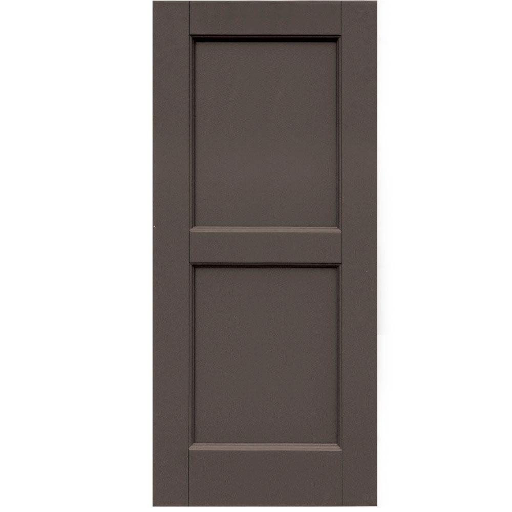 Winworks Wood Composite 15 in. x 34 in. Contemporary Flat Panel Shutters Pair #641 Walnut