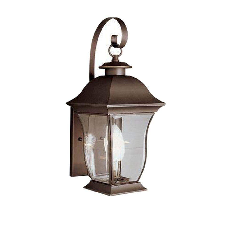 Bel Air Lighting Wall Flower 2-Light Outdoor Weathered Bronze Post Lantern