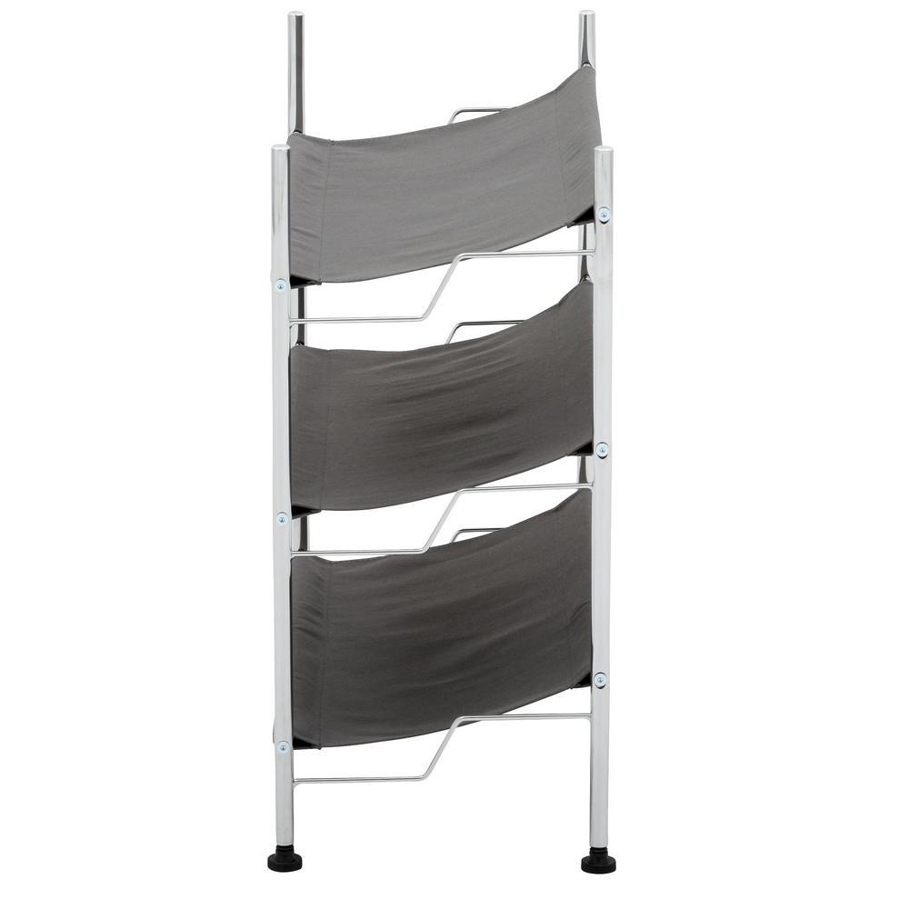 Shoe rack side view showcasing three tiers