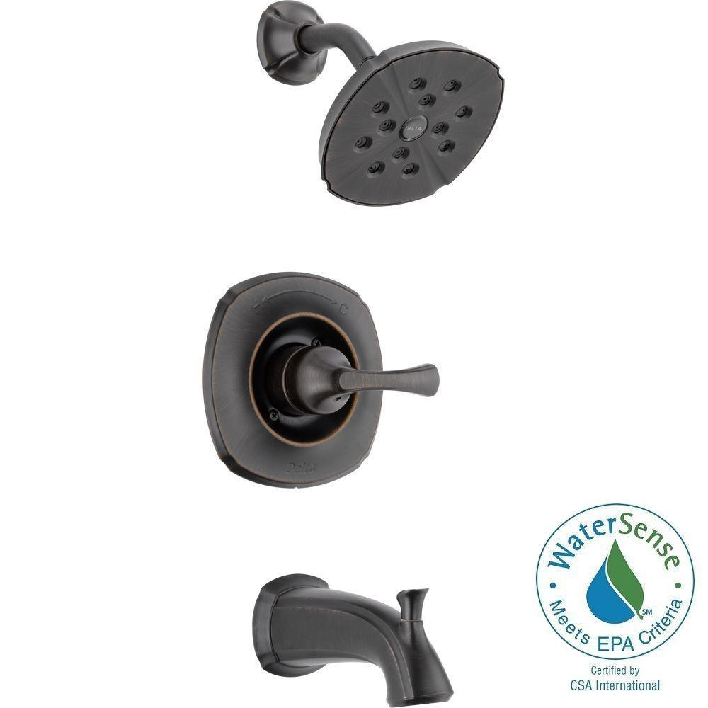Delta Addison 1-Handle Tub and Shower Faucet Trim Kit in Venetian Bronze Featuring H2Okinetic (Valve Not Included)