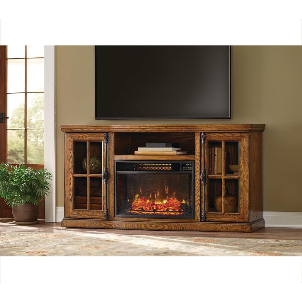Home Decorators Collection Manor Place 67 In Tv Stand W Bluetooth Electric Fireplace In Oak