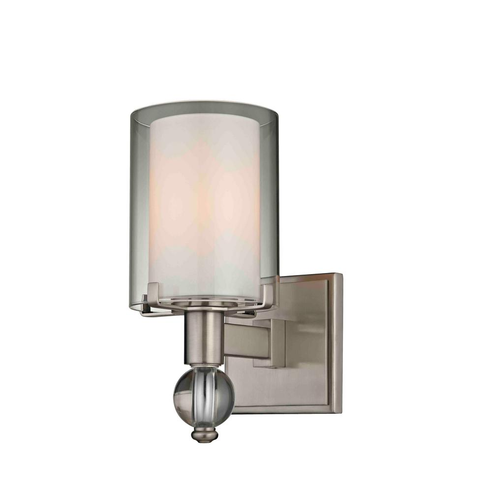 Sofia 1-Light Satin Nickel Sconce with Clear Outer Glass and Opal