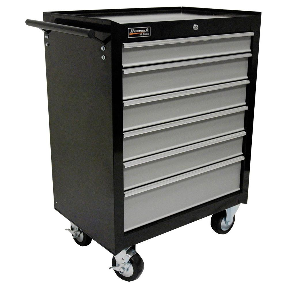 Homak SE Series 27 in. 6-Drawer Rolling Cabinet Black and Gray