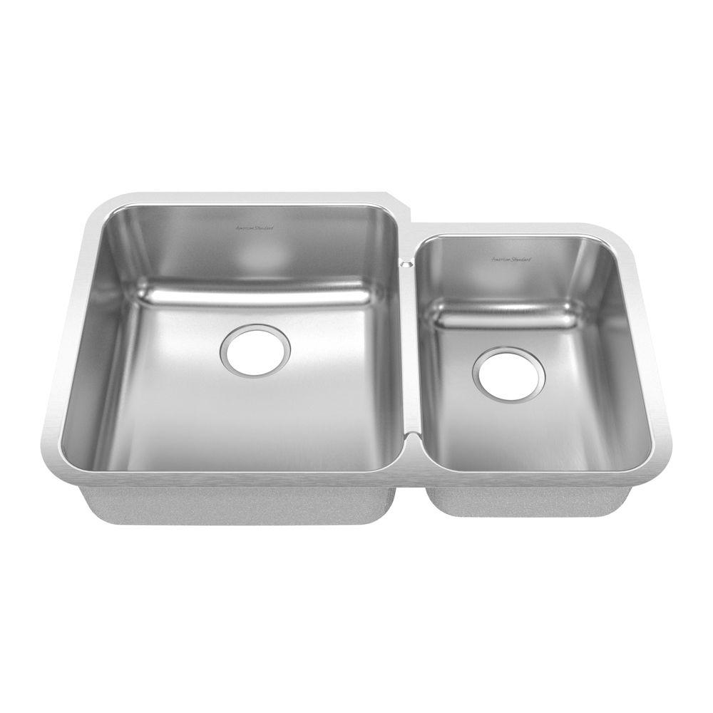 American Standard Prevoir Undermount Brushed Stainless Steel 32.875x21.5x8 0-Hole Double Combo Small Rt Bowl-DISCONTINUED
