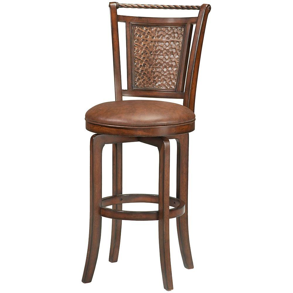 Hillsdale Furniture Norwood 30 5 In Brown Cherry Swivel Cushioned Bar Stool 4935 831s The