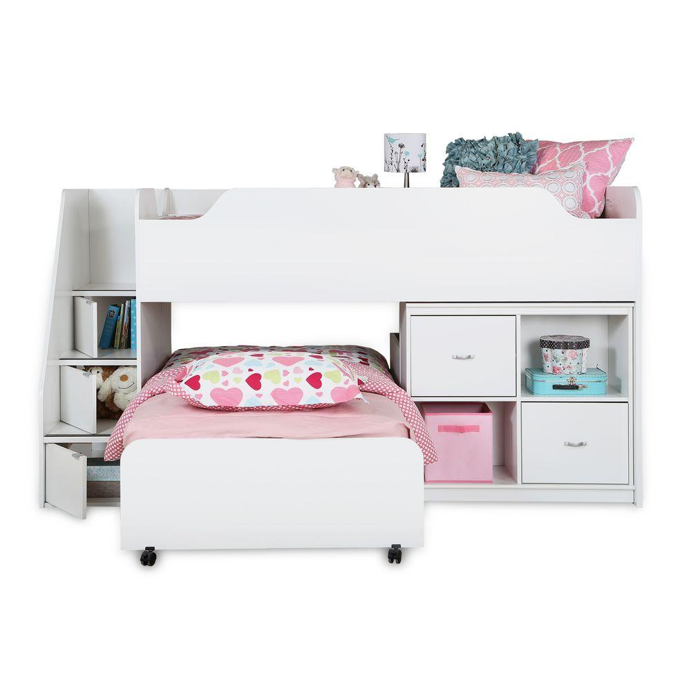 South Shore Mobby Twin Wood Kids Trundle Bed, Pure White