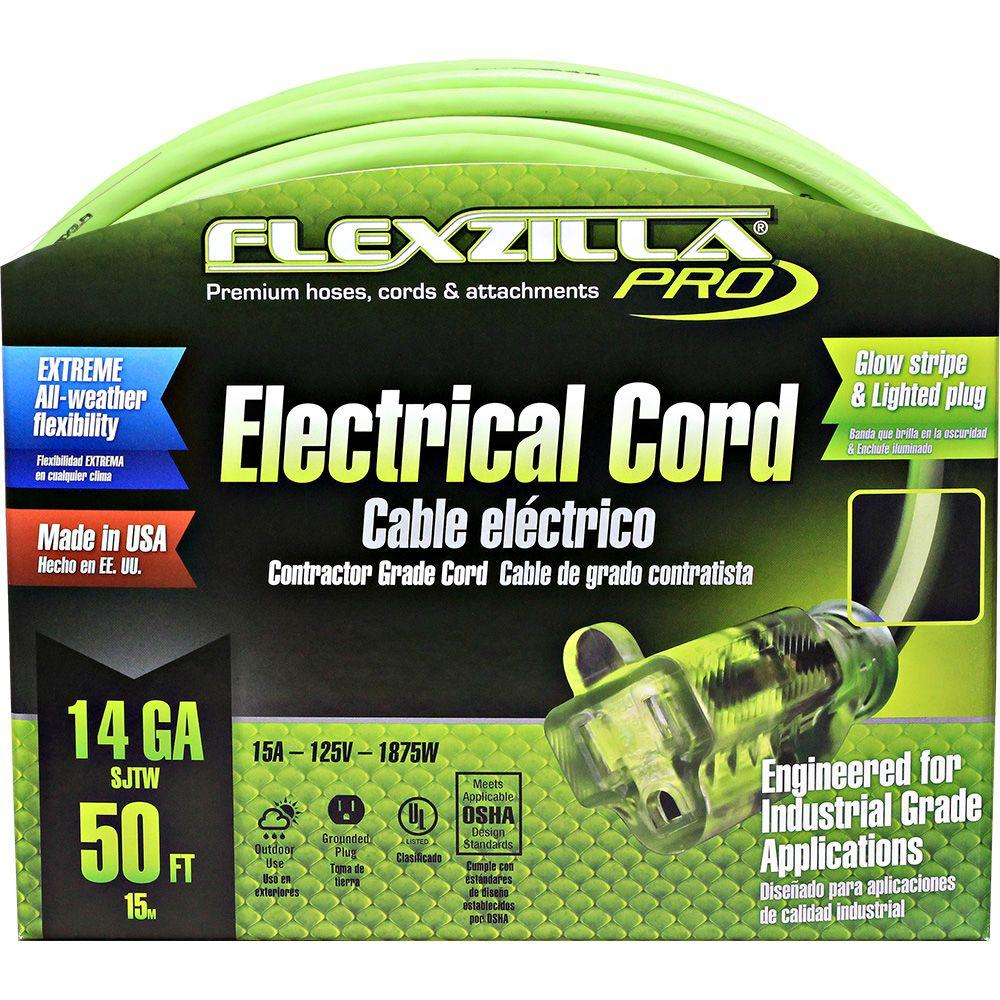 Flexzilla 50 ft. 14/3 Extension Cord-727-143050FZL5F - The Home Depot