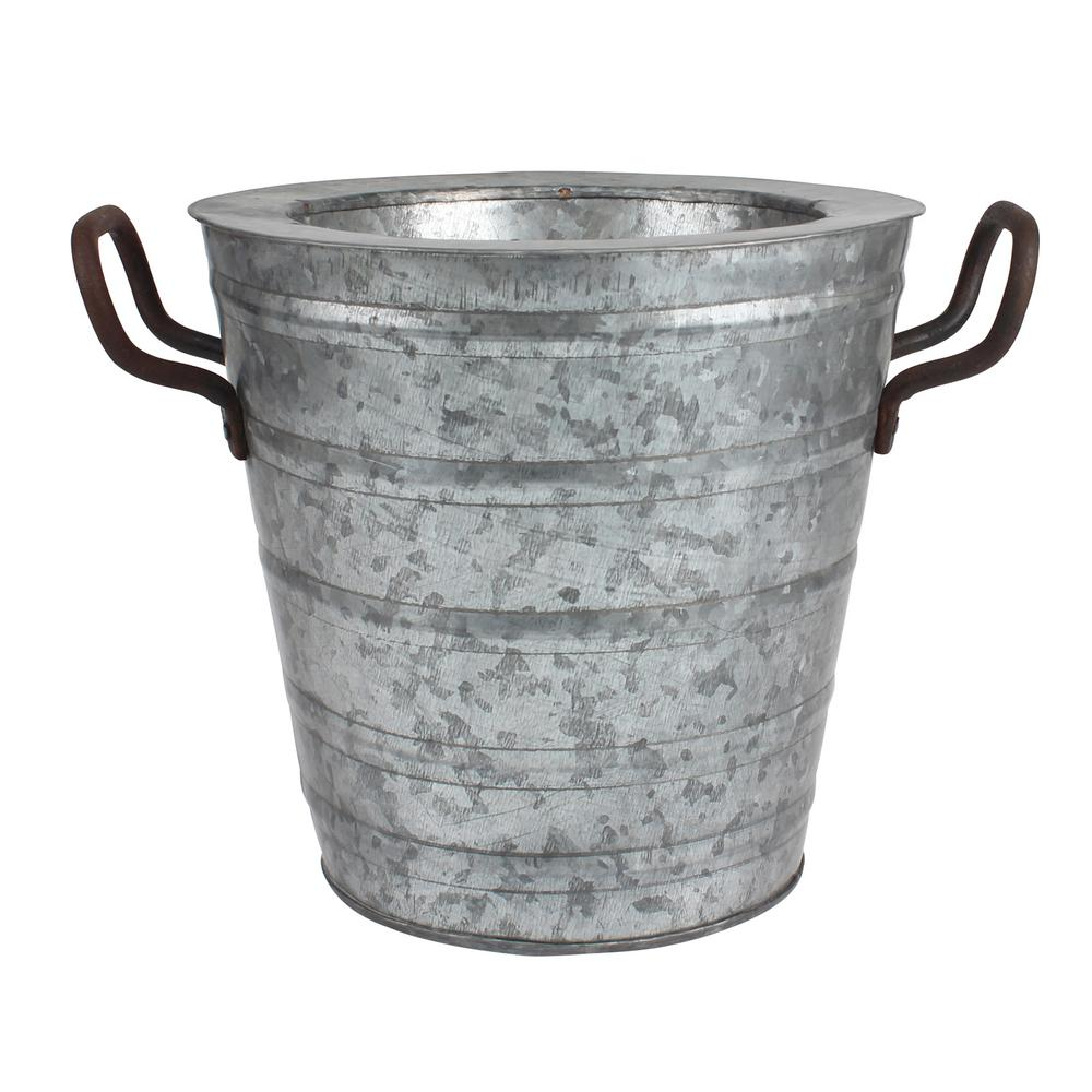 8.5 in. x 11 in. Aged Galvanized Ice Bucket, Grays