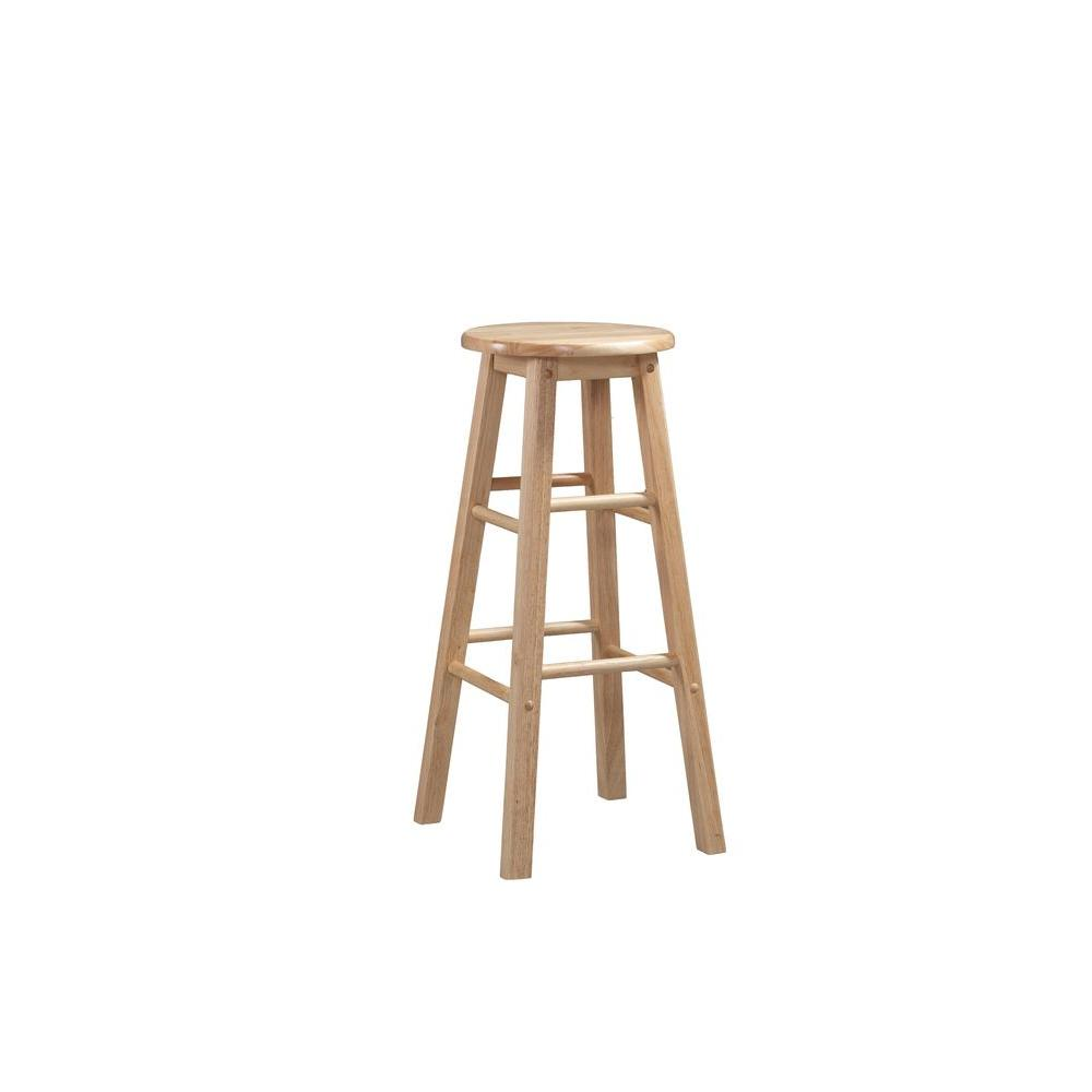 Linon home decor 24 in round wood bar stool 98100nat 01 kd the home depot Home depot wood bar stools