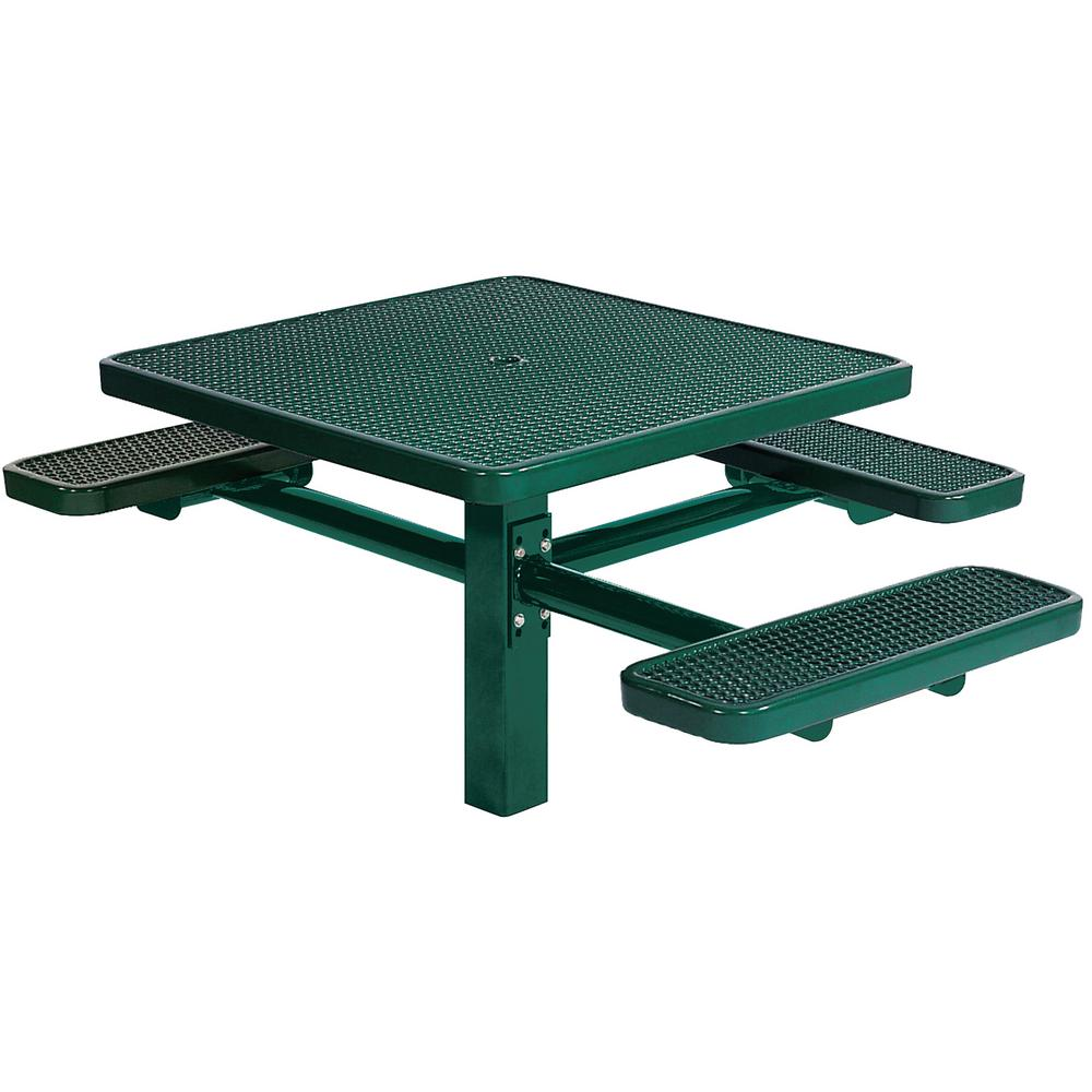 Tradewinds Park 46 in. Green Commercial Square Picnic Table with 3 Seats