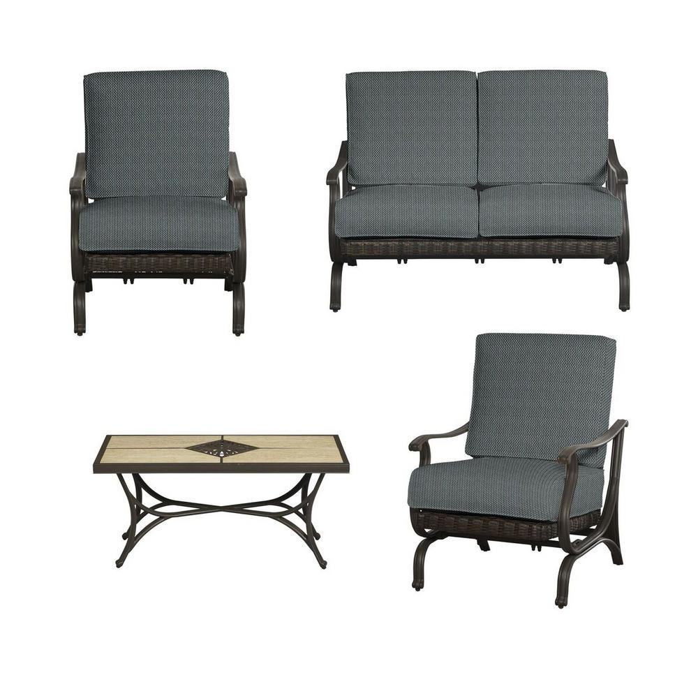 Hampton Bay Pembrey 4 Piece All Weather Wicker Patio Conversation Set With Peacock Java Cushions