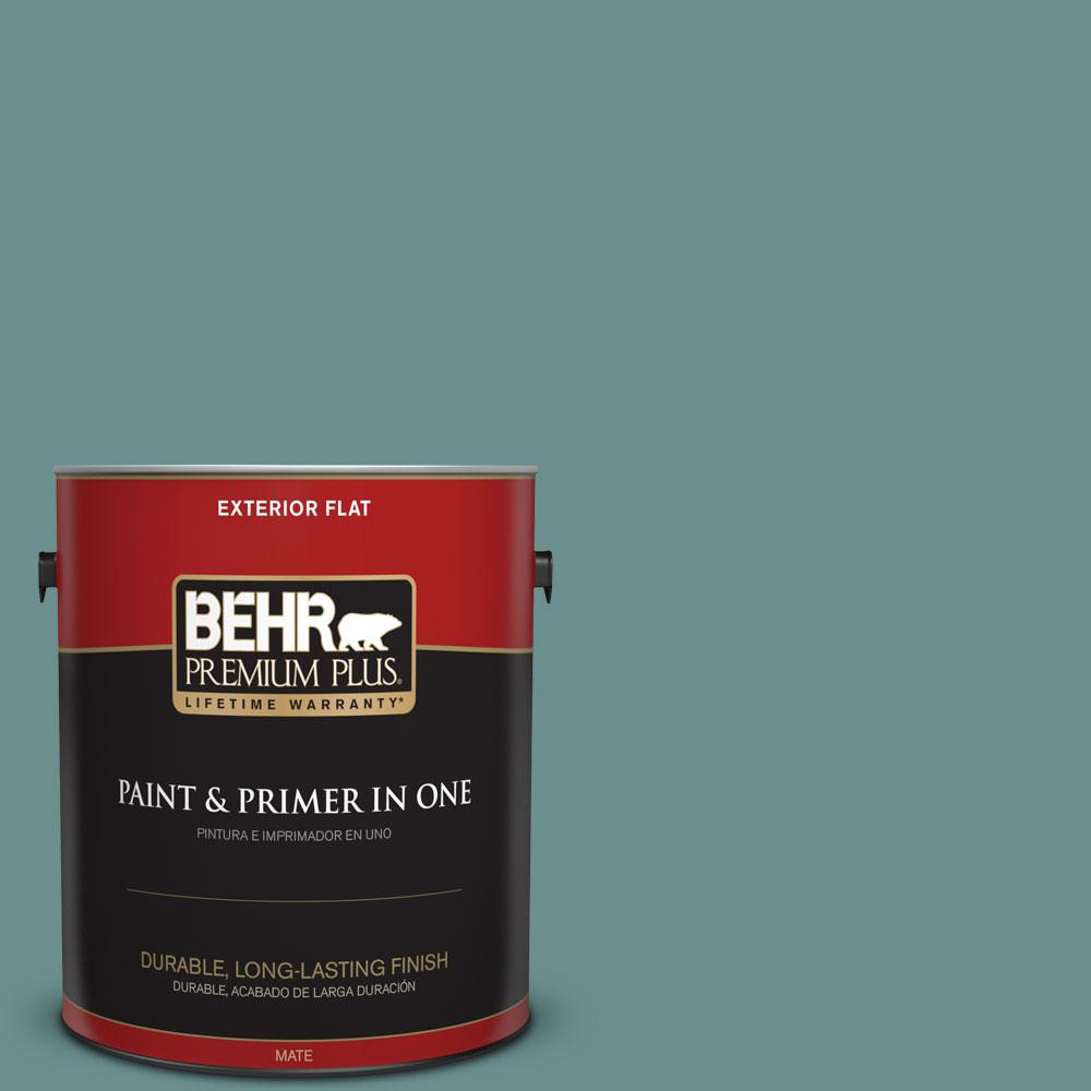 BEHR Premium Plus 1-gal. #500F-6 Hallowed Hush Flat Exterior Paint