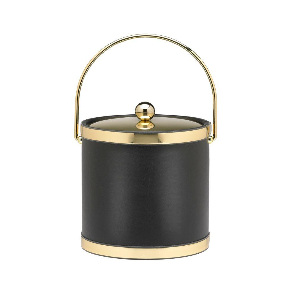 Kraftware Sophisticates 3 Qt. Black w/Polished Brass Ice Bucket with Bale Handle, Metal Cover