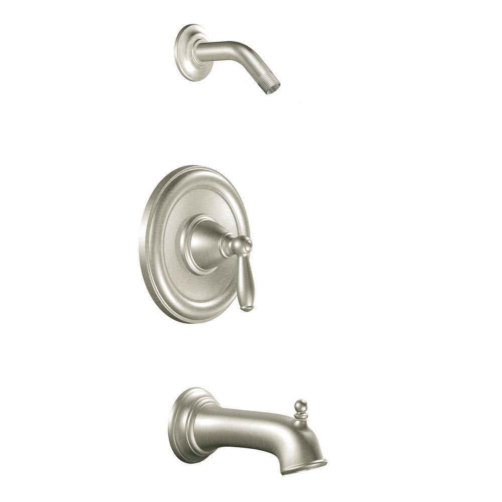 MOEN Brantford 1-Handle Posi-Temp Tub and Shower in Brushed Nickel (Valve Not Included)