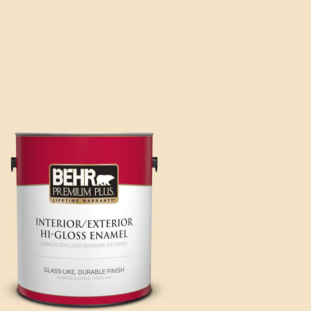 BEHR Premium Plus 1 gal. #PPU6-10 Cream Puff High-Gloss Enamel Interior/Exterior