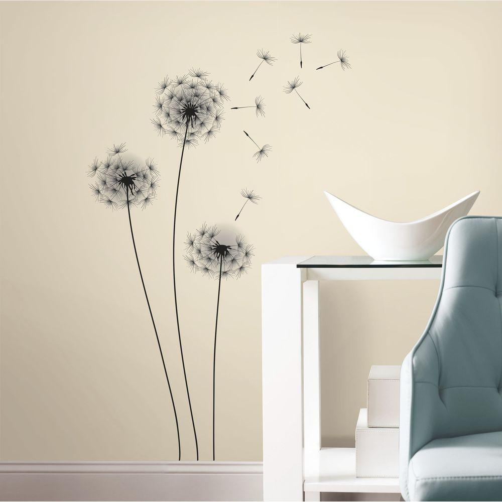 roommates  in black whimsical dandelion peel and stick giant  - black whimsical dandelion peel and stick giant wall decals