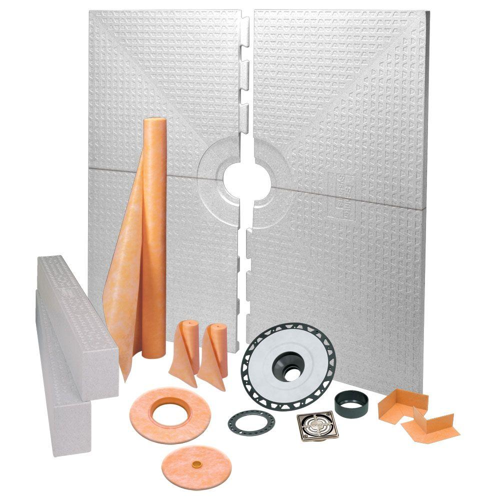 Schluter Kerdi-Shower 72 in. x 72 in. Shower Kit in ABS with Brushed Nickel Anodized Aluminum Drain Grate