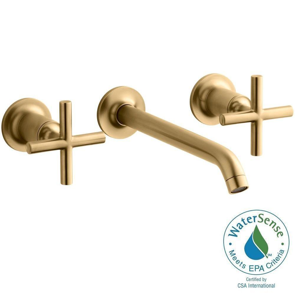 KOHLER Purist Wall-Mount 2-Handle Water-Saving Bathroom Faucet Trim Kit in Vibrant Modern Brushed Gold