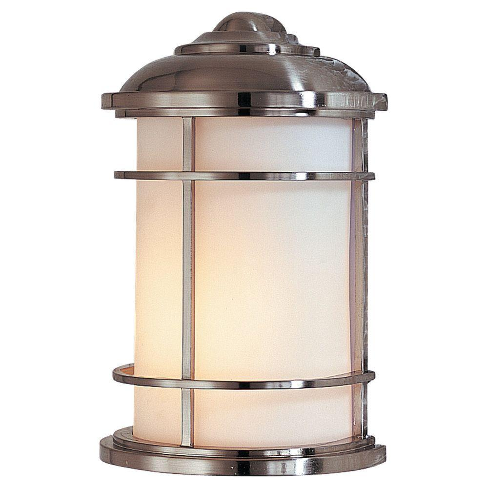 Lighthouse 1-Light Brushed Steel Outdoor Wall Lantern