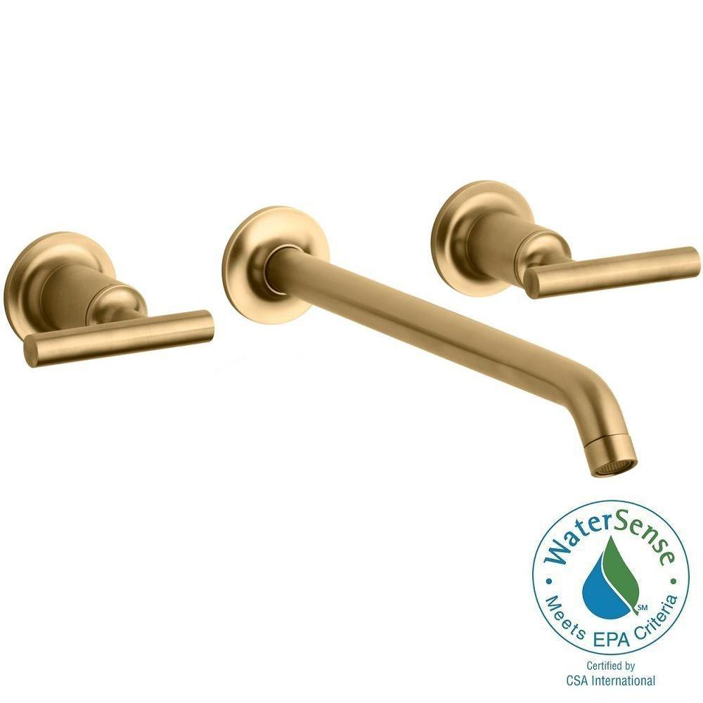 Purist Wall-Mount 2-Handle Bathroom Faucet Trim Kit in Brushed Gold (Valve
