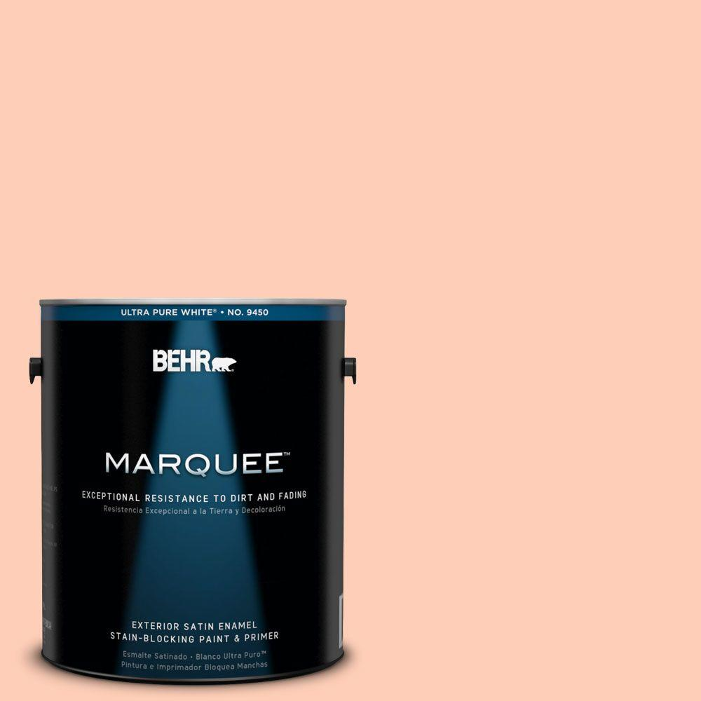 BEHR MARQUEE 1-gal. #230A-3 Apricot Lily Satin Enamel Exterior Paint-945001 -