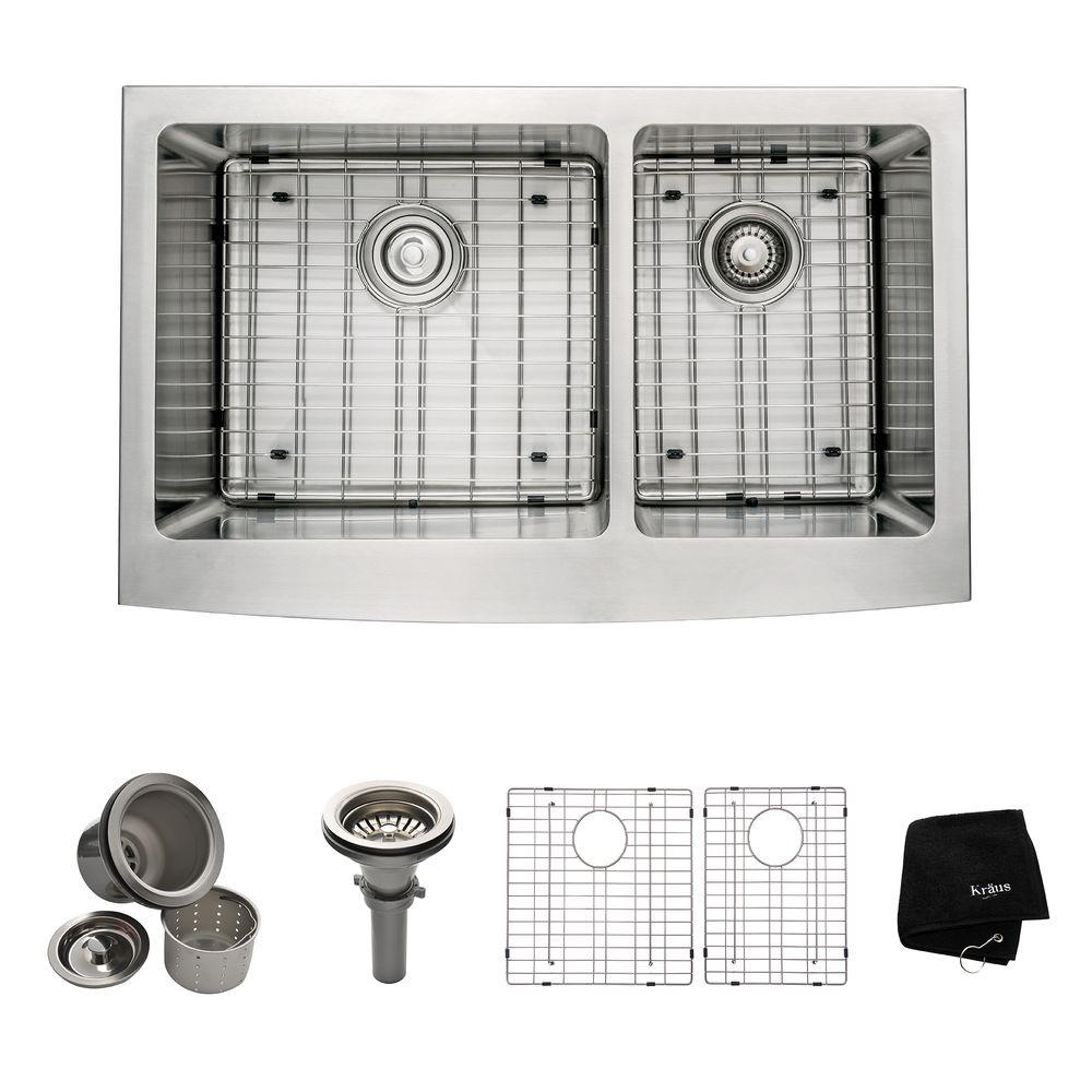 KRAUS Farmhouse Apron Front Stainless Steel 33 in. Double Basin Kitchen Sink Kit