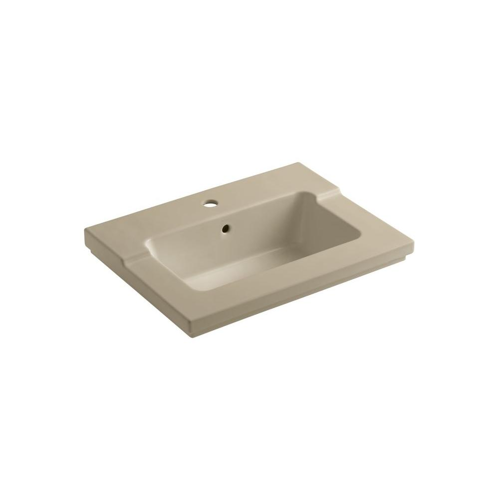 KOHLER Tresham 25-7/16 in. Vitreous China Single Vanity Top with Basin in Mexican Sand
