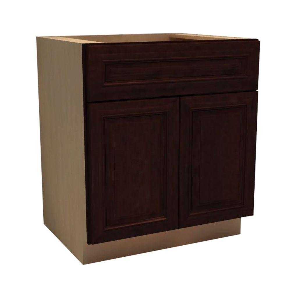 Home Decorators Collection 30x34.5x24 in. Somerset Assembled Sink Base Cabinet with 2 Doors and 1 False Drawer Front in Manganite