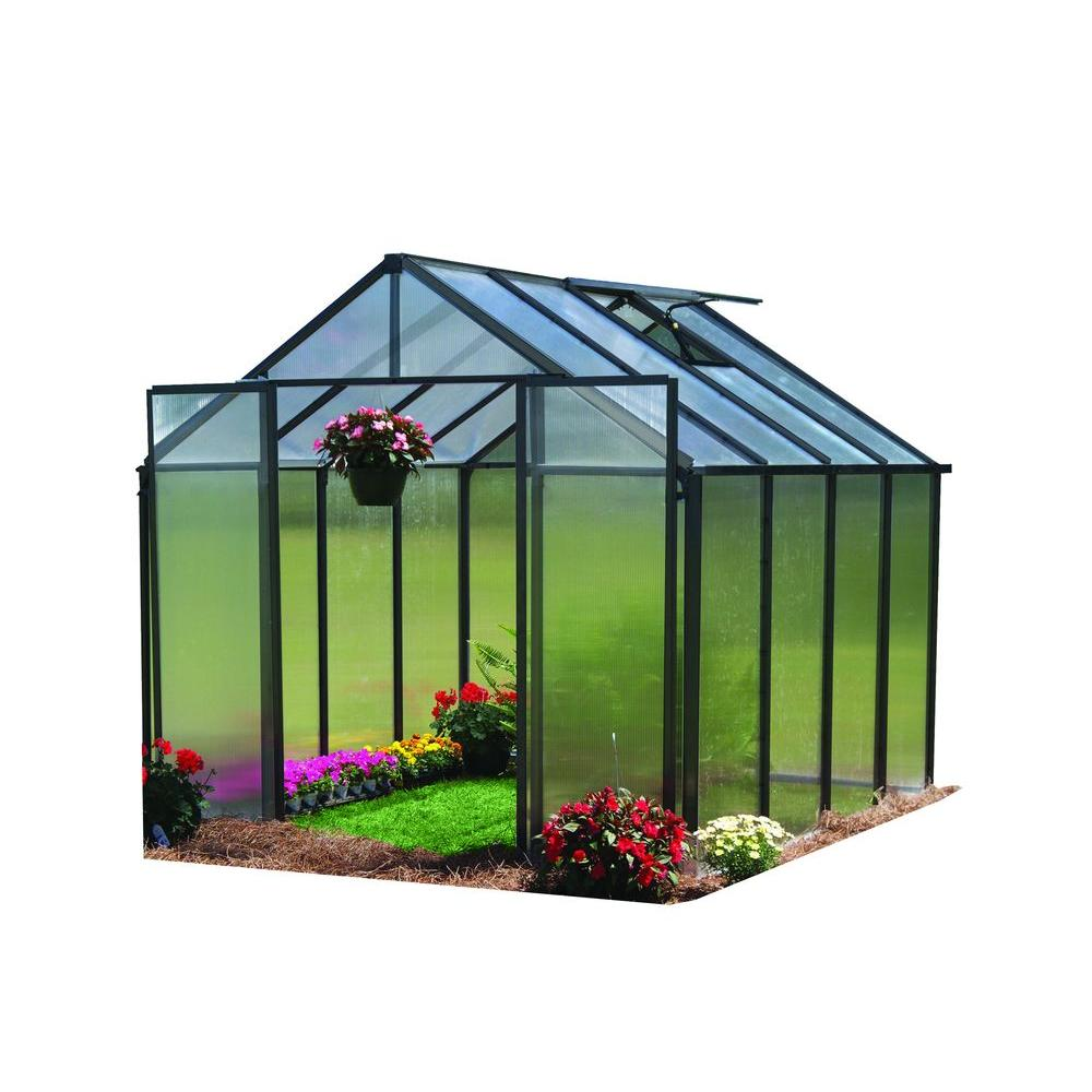 Monticello 8 ft. x 8 ft. Black Frame Quick Assembly Greenhouse