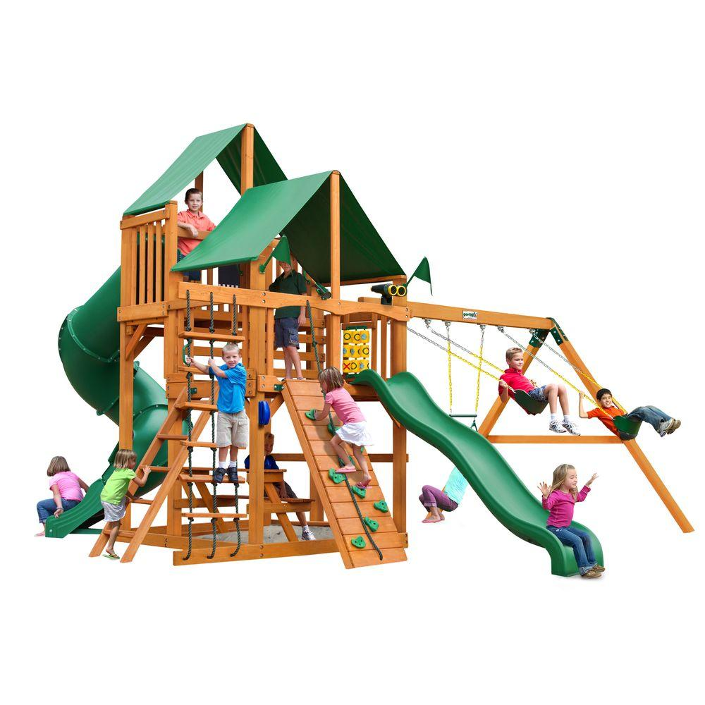 Gorilla Playsets Great Skye I with Amber Posts and Deluxe Green Vinyl Canopy Cedar Playset, Browns/Tans