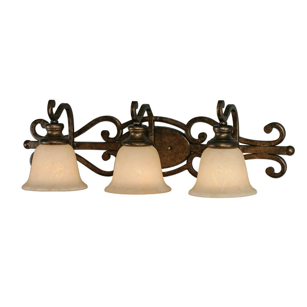 null Dalian Collection 3-Light Burnt Sienna Bath Vanity Light